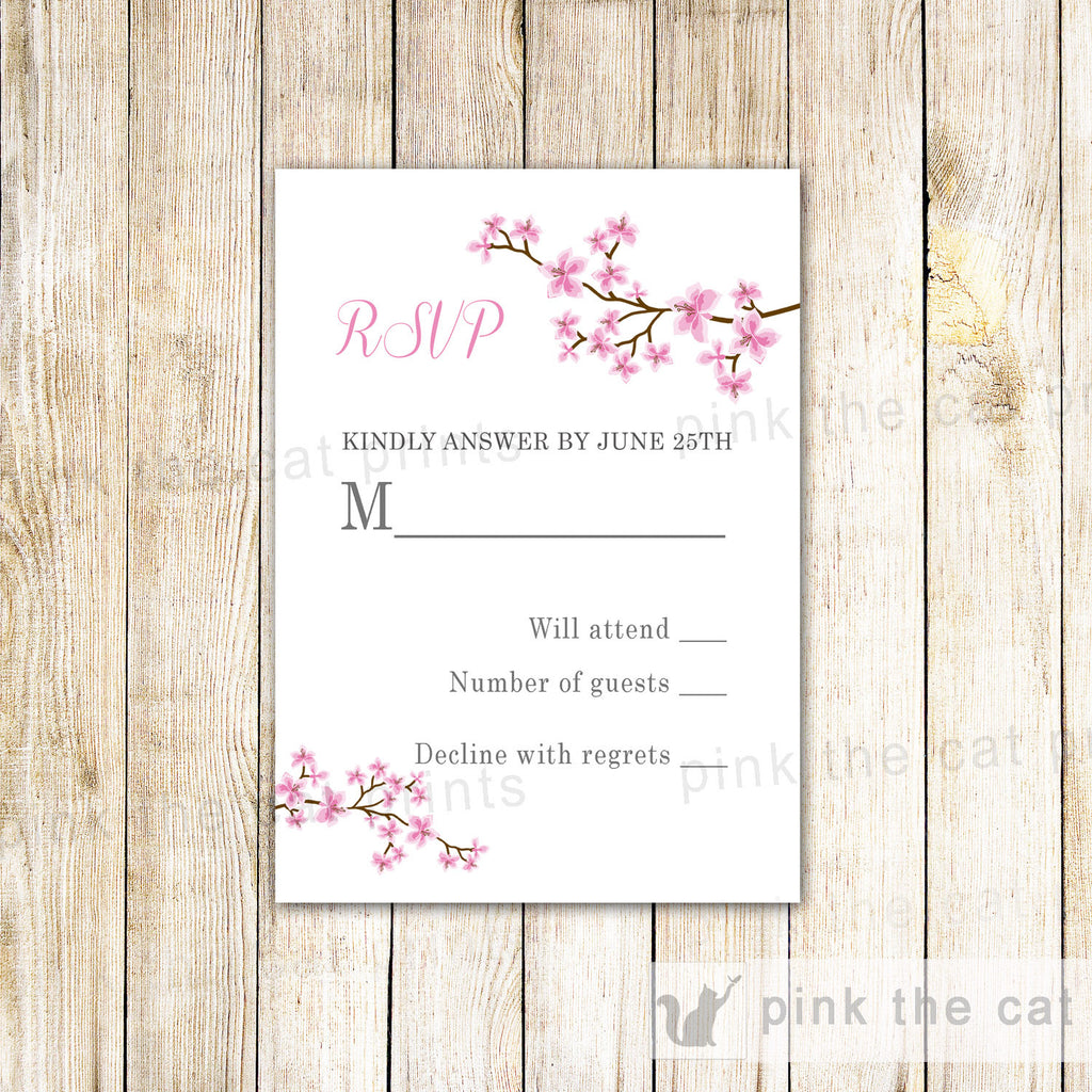 Blossom Cherry Floral Wedding RSVP Card Pink