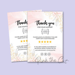 Business thank you card floral pink