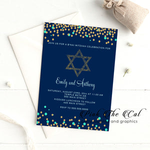 100 invitations jewish star mint gold blue