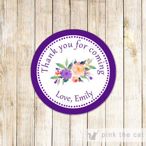 40 Stickers Favor Label Floral Purple Boho Birthday Baby Shower
