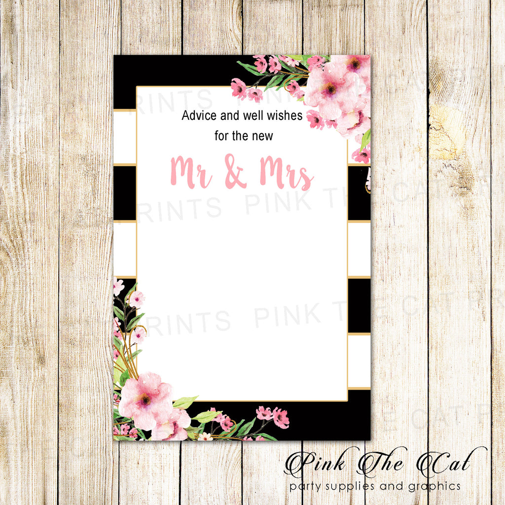30 wedding well wishes advice cards pink floral black stripes