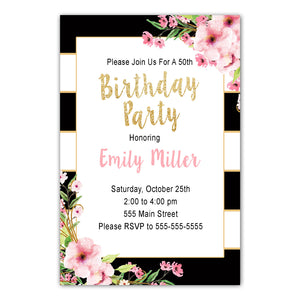 Adult Birthday Invitation Black Gold Pink Floral Printable
