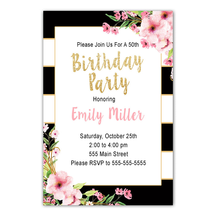 30 Invitations Adult Teens Birthday Black Gold Pink Floral