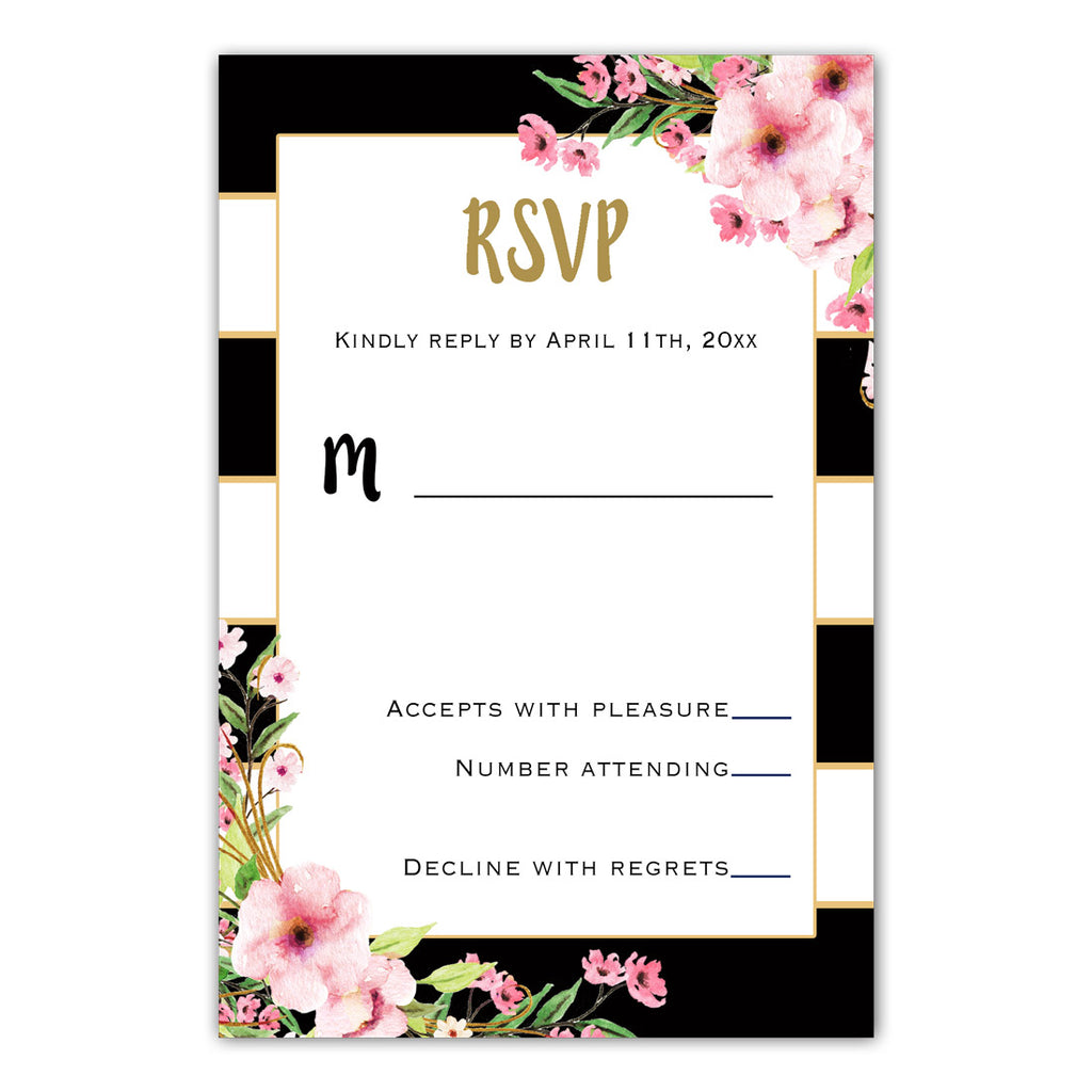 100 Wedding RSVP cards pink floral black white gold stripes
