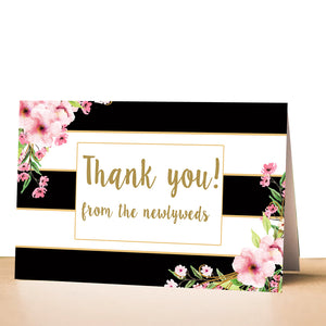 30 thank you cards newlyweds blush pink black gold + envelopes