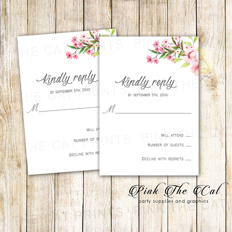 100 Cards Boho Floral Wedding RSVP Romantic Pink Mint Green