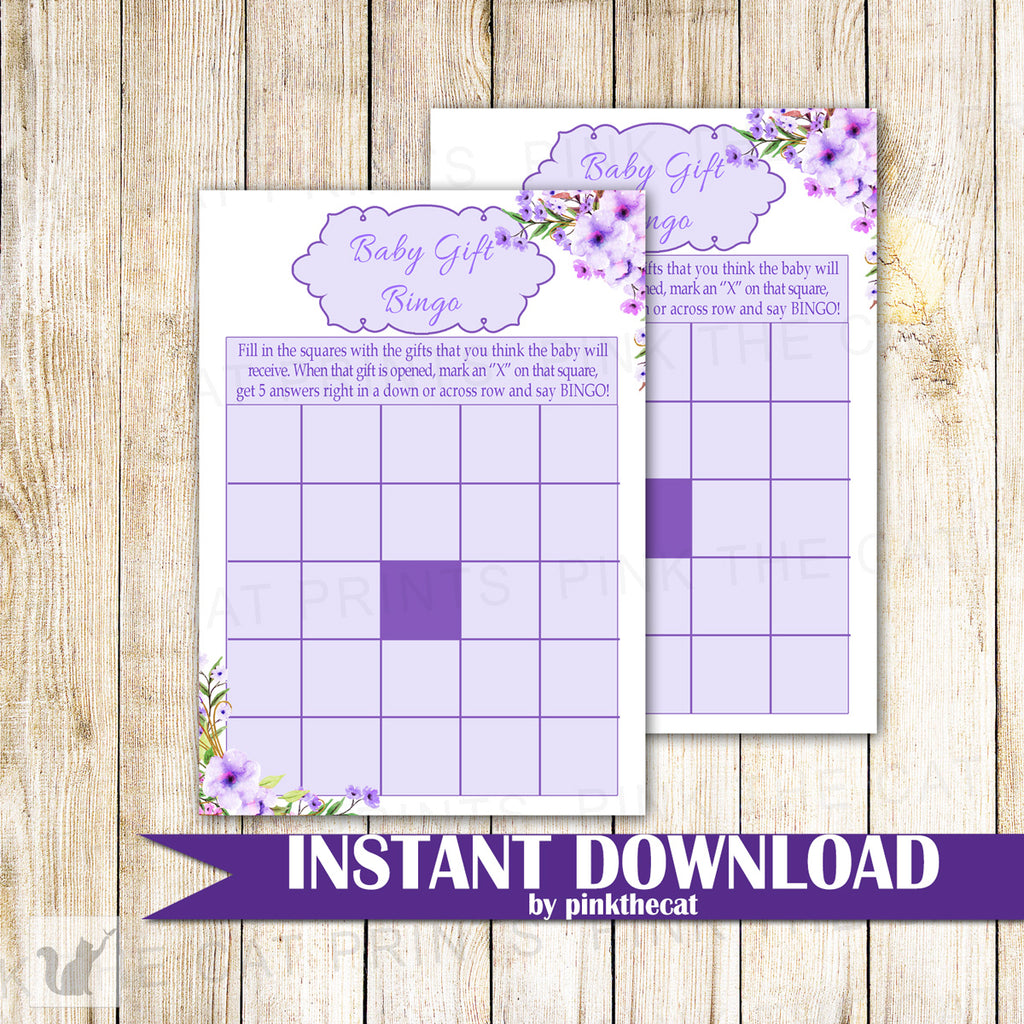 Baby Gift Bingo Card Baby Girl Shower Lavender Flowers Printable