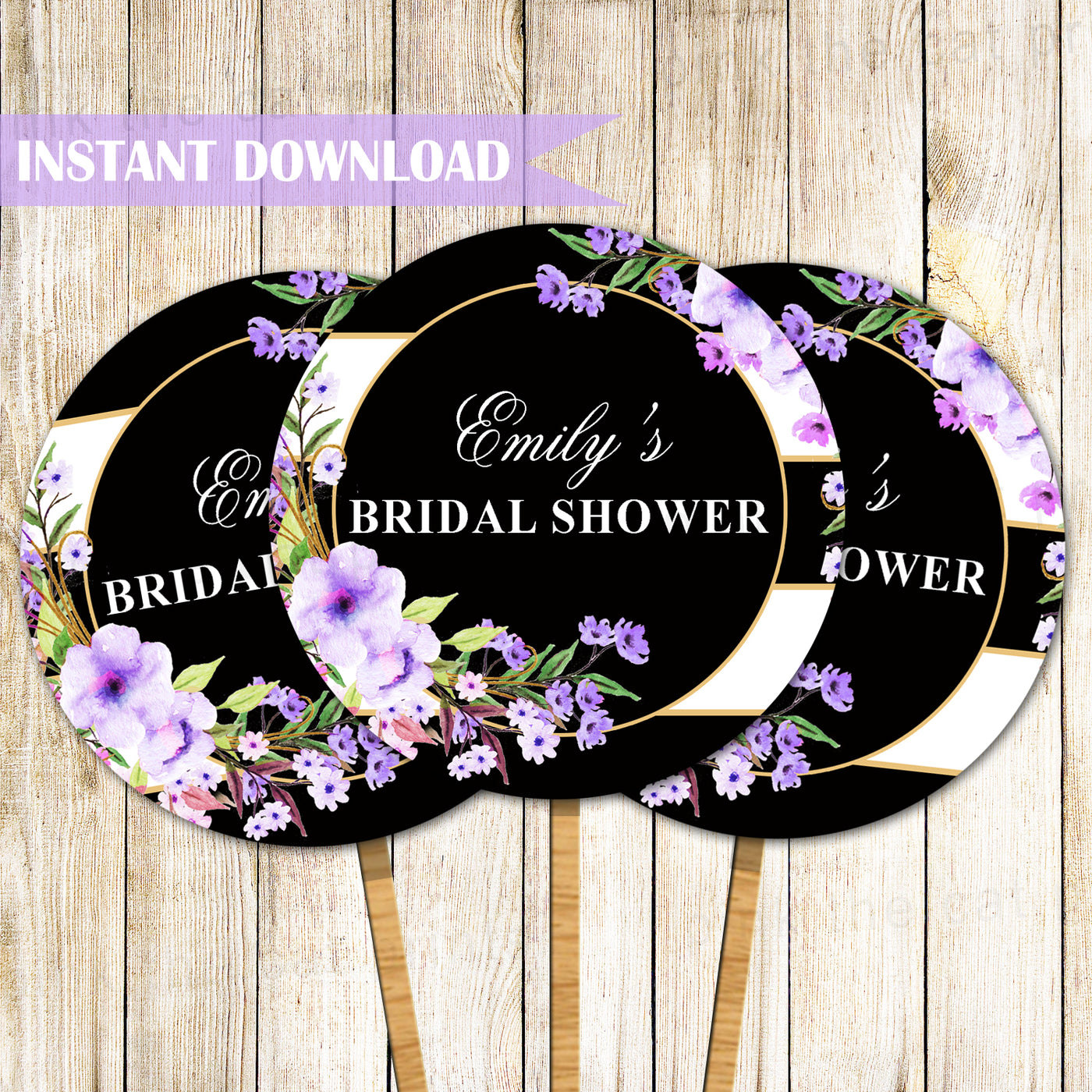 Floral Cupcake Toppers Birthday Bridal Shower Purple Black Printable Pink The Cat