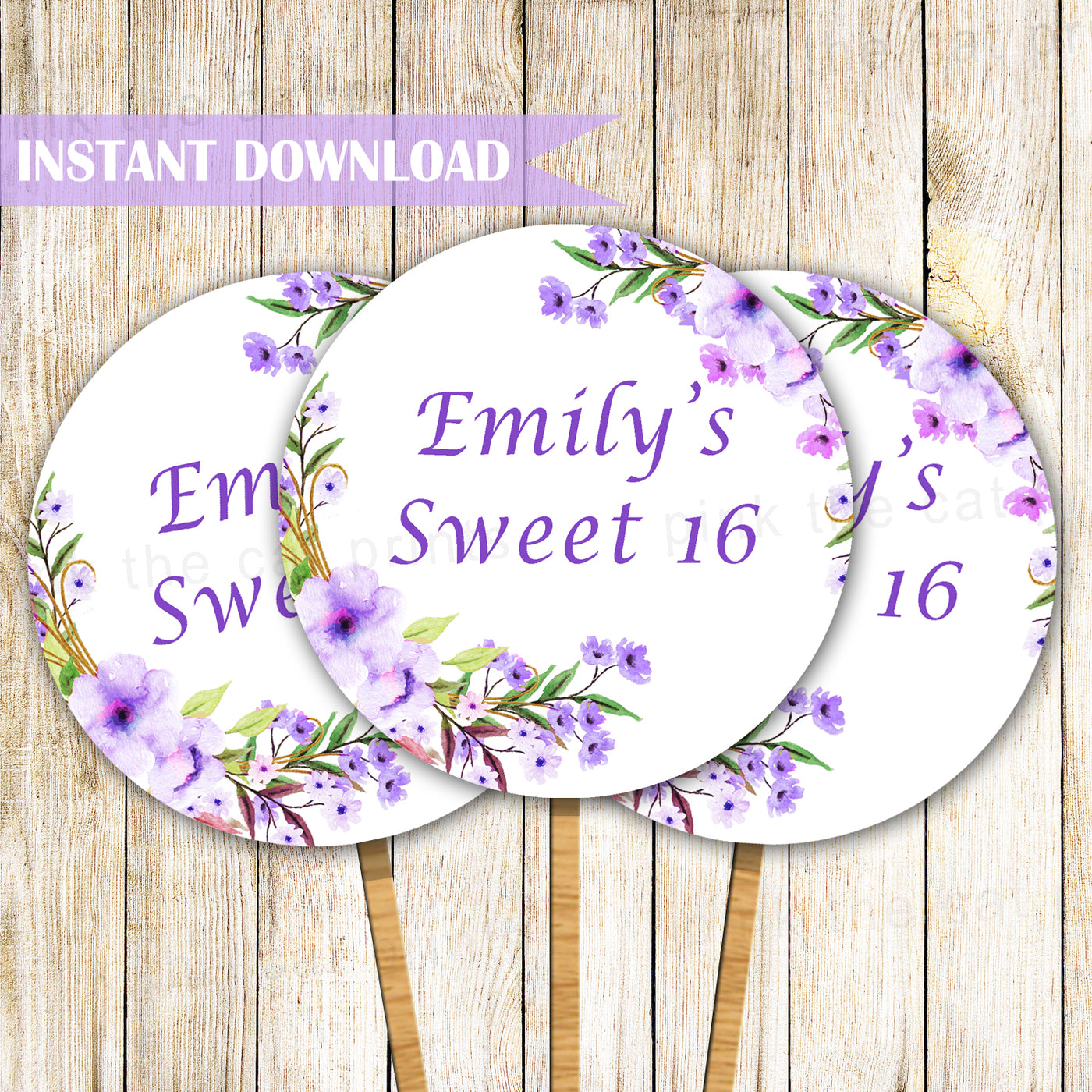 Floral Cupcake Toppers Birthday Sweet 16 Purple Printable Pink The Cat