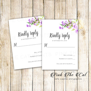 Boho Floral Wedding RSVP Card Romantic Lavender Mint Green
