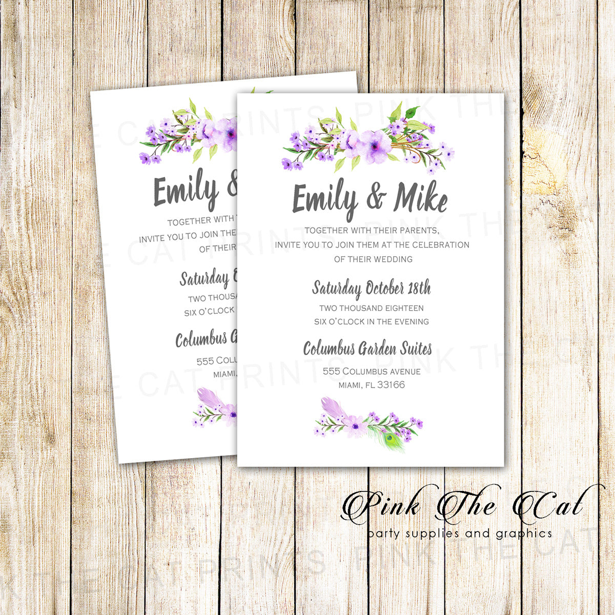 Floral Lavender Romantic Wedding Invitations Printable Personalized – Pink  the Cat