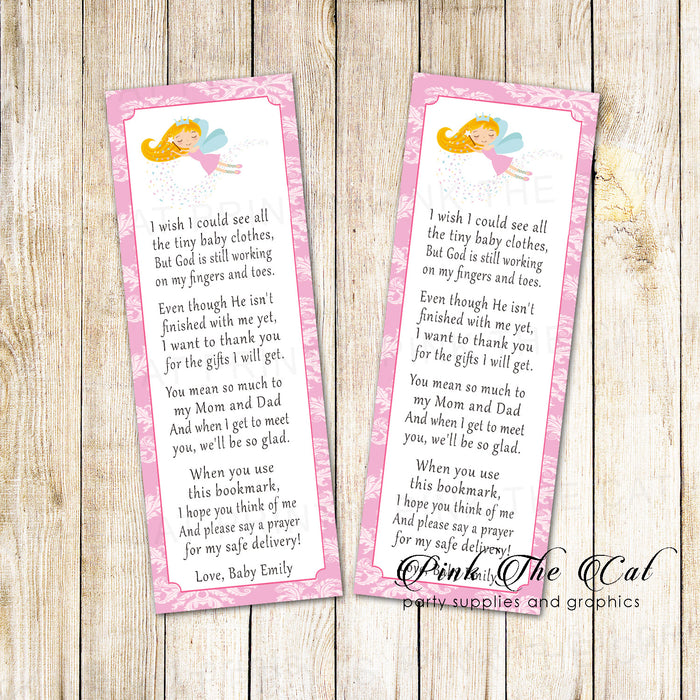 50 bookmarks fairy baby shower pink damask