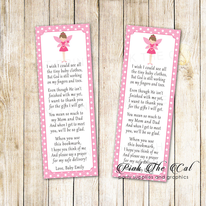 50 bookmarks fairy baby shower pink