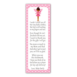 50 bookmarks fairy baby shower favors pink white pixie personalized
