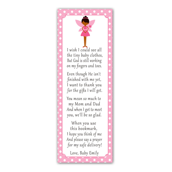 50 bookmarks fairy baby shower pink ethnic