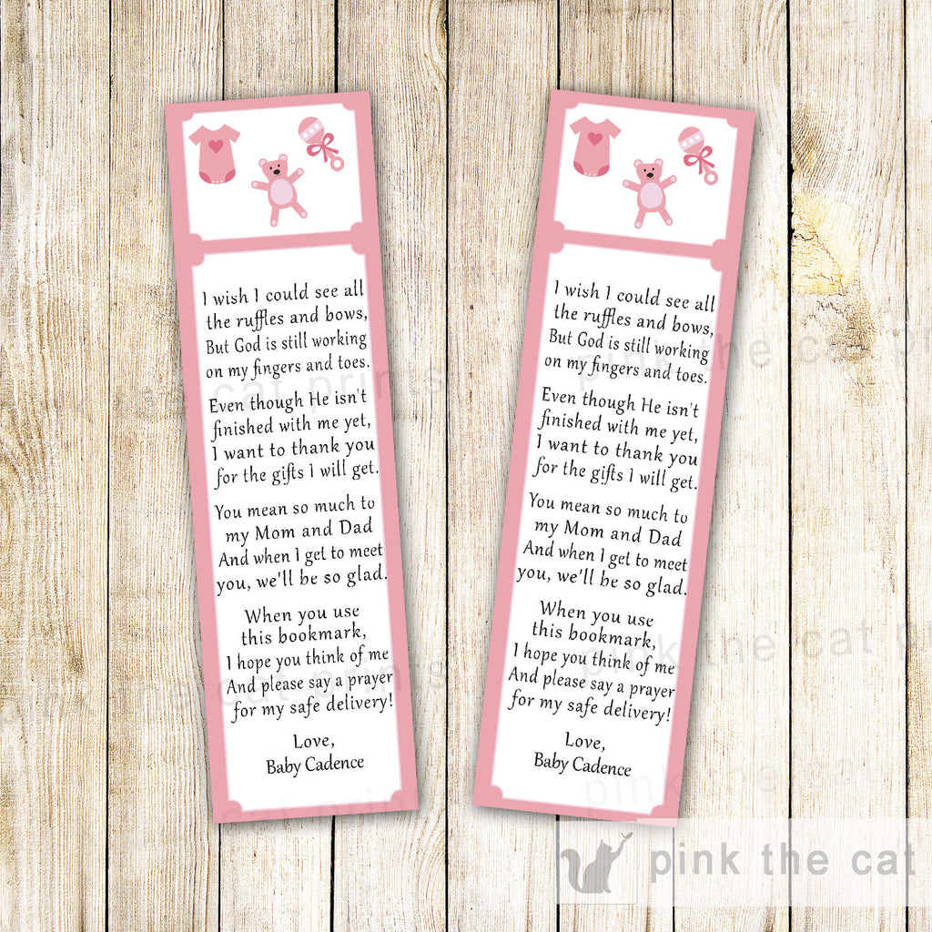 Baby Girl Shower Toys Bear Clothes Bookmark Favor