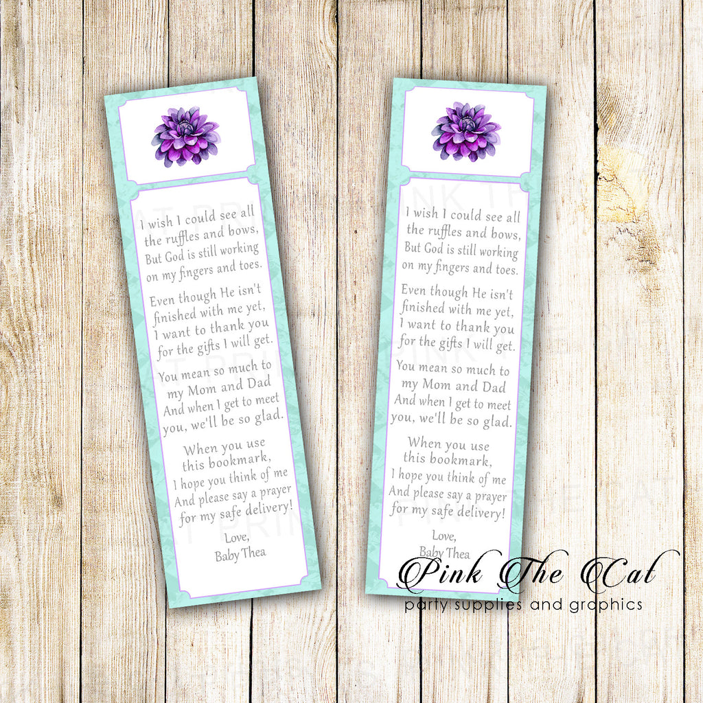50 bookmarks dhalia baby shower favor purple mint
