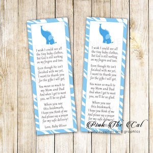 25 bookmarks blue elepant baby shower personalized with name