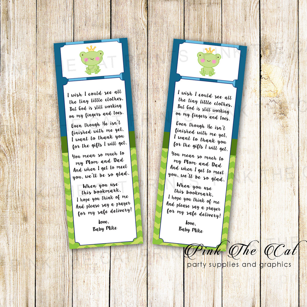 50 Printed Bookmarks Baby Shower Prince Frog Blue Green