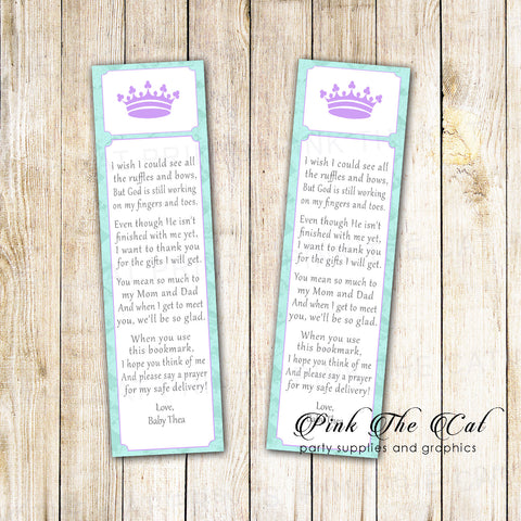 50 bookmarks princess baby shower favor purple mint