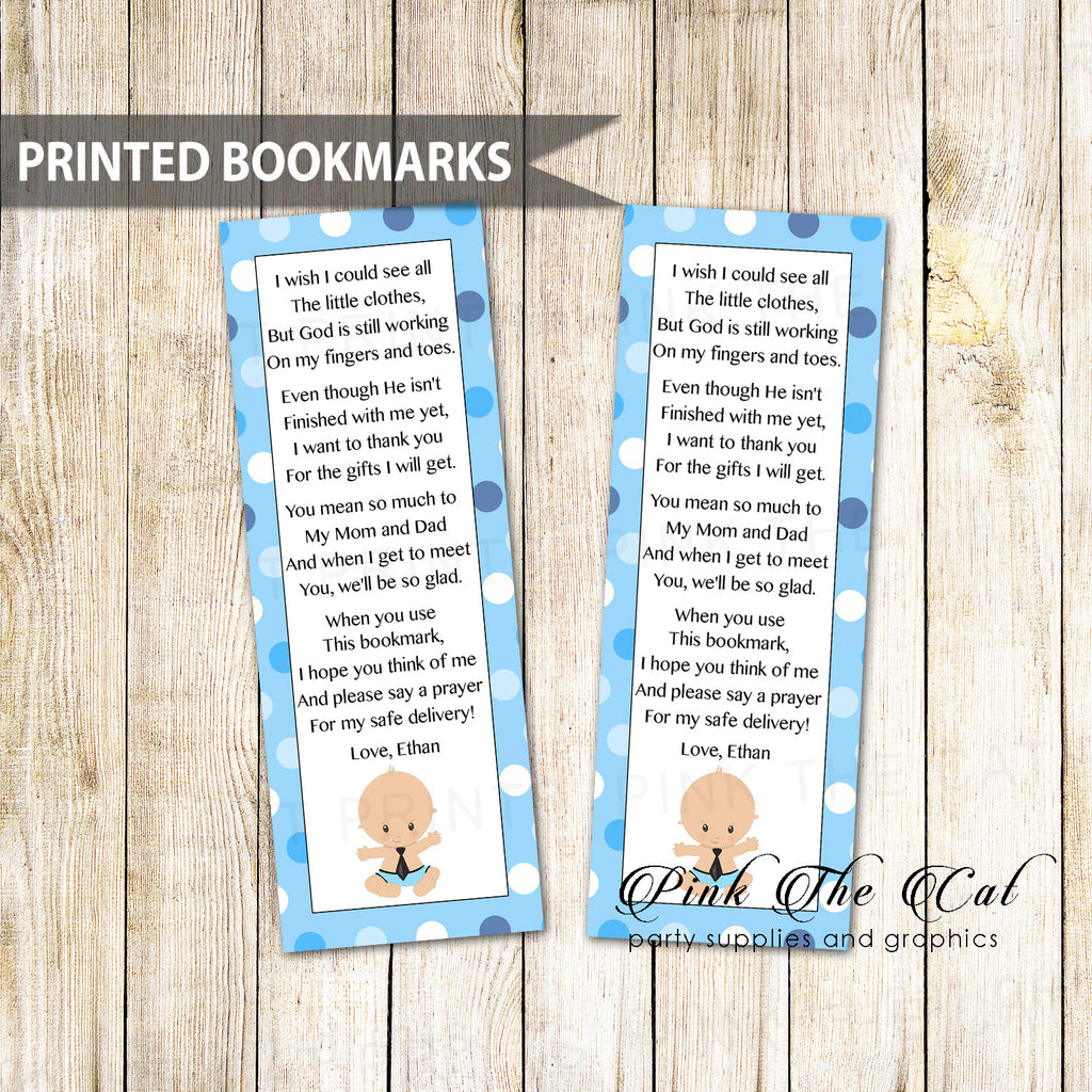 50 Bookmarks Little Man Baby Shower Favors