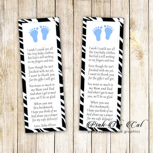 25 bookmarks blue zebra footprints baby shower favors personalized