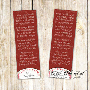 Bookmarks baseball red baby shower printable personalized with name