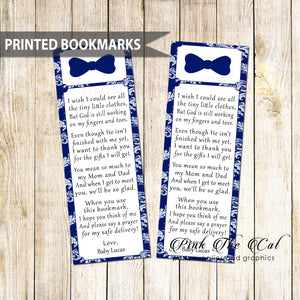 50 Bookmarks Little Man Favors Baby Shower Navy Blue Bowtie