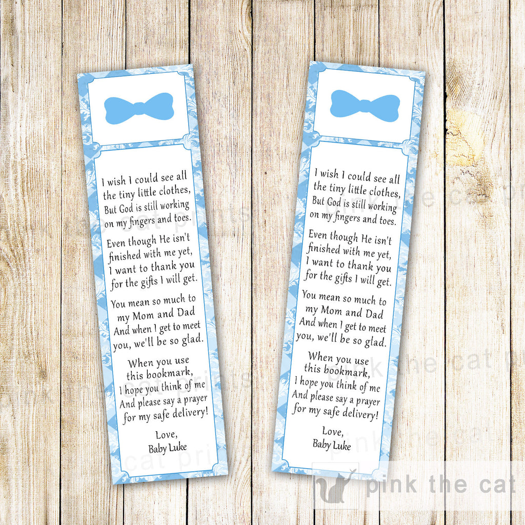 Bowtie Bookmark Baby Boy Shower Little Men Blue