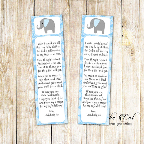 50 Bookmarks Elephant Boy Baby Shower Favors Blue Gray