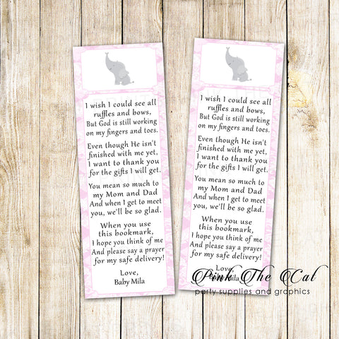 50 Bookmarks Elephant Girl Baby Shower Favors Pink Gray