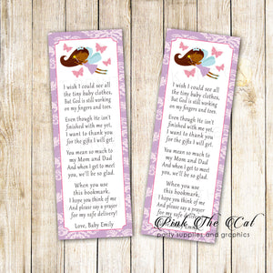 Bookmarks lavender fairy baby shower african american printable