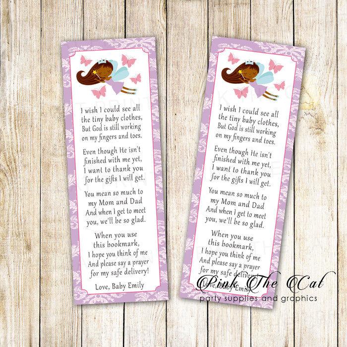 Bookmarks lavender fairy baby shower ethnic printable