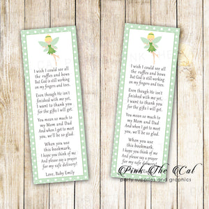 Bookmarks green fairy baby shower printable personalized favors