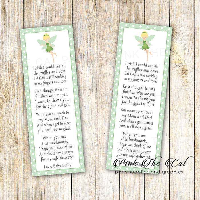 Bookmarks green fairy baby shower printable