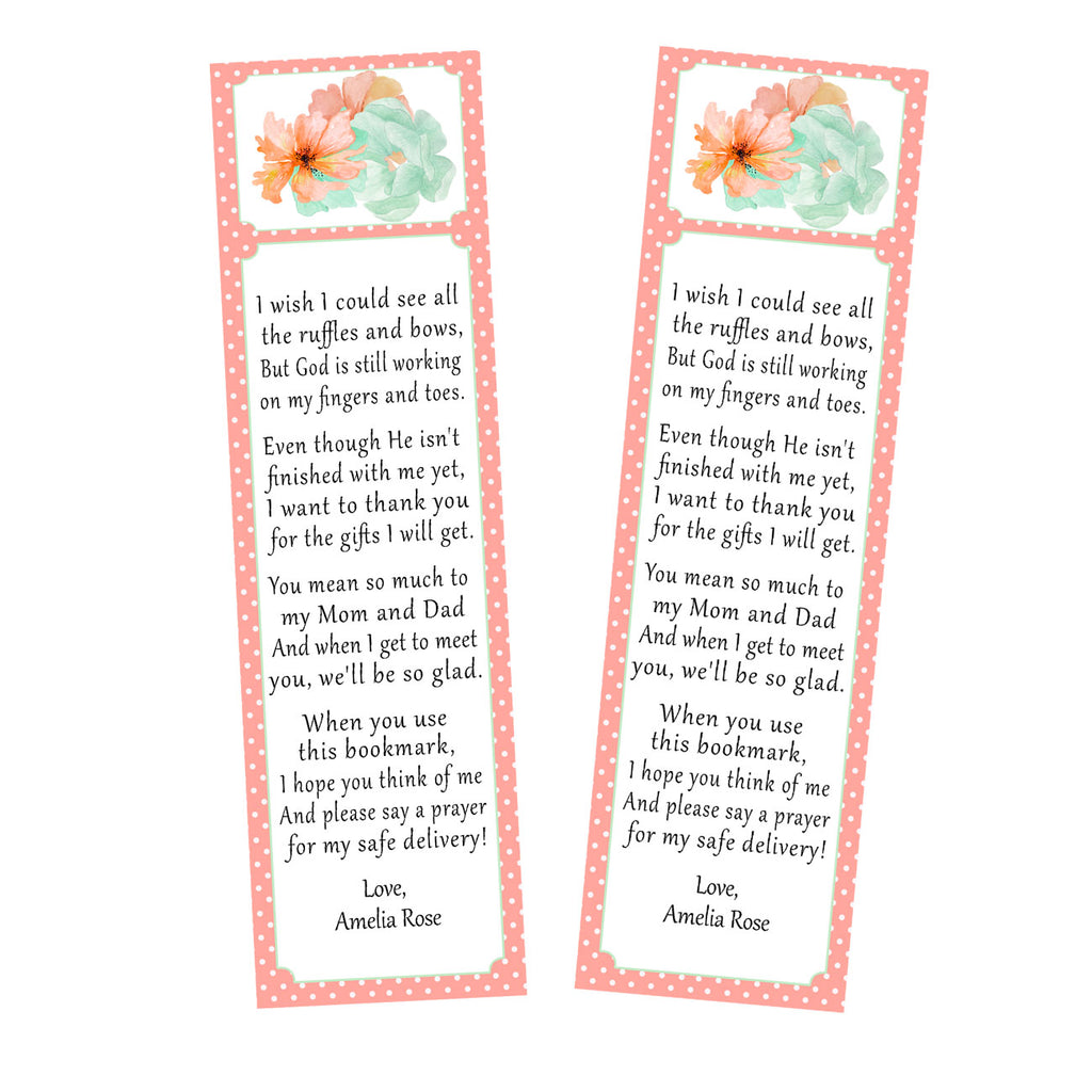 Bookmarks floral baby shower favor coral mint