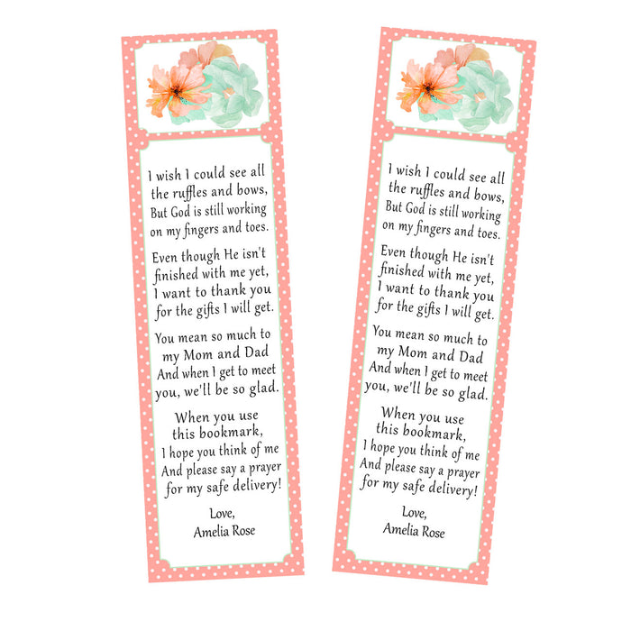 50 bookmarks floral baby shower favor coral mint