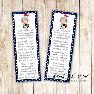 Bookmarks knight prince boy baby shower printable personalized