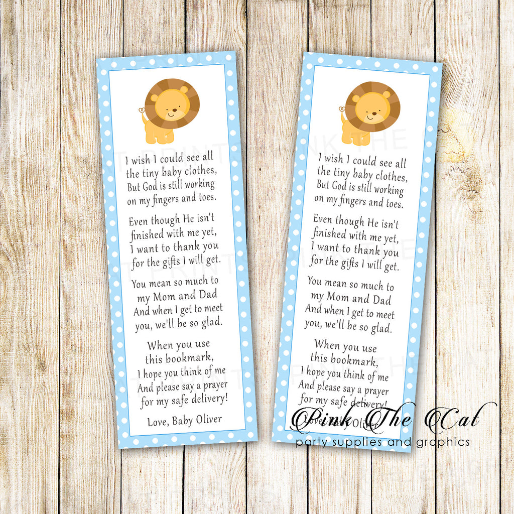 25 bookmarks blue lion cub baby shower personalized name