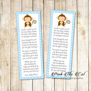 Bookmarks blue monkey baby shower printable personalized