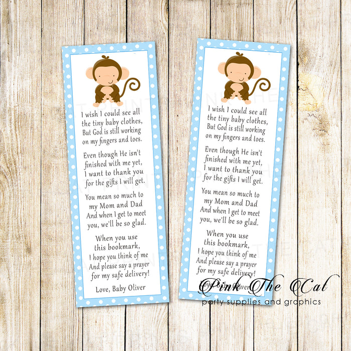 Bookmarks blue monkey baby shower printable