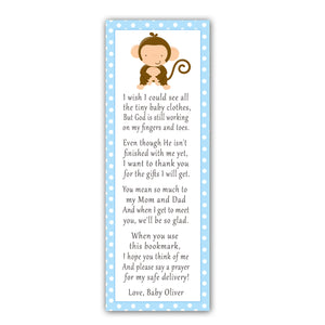 25 bookmarks blue monkey boy baby shower personalized