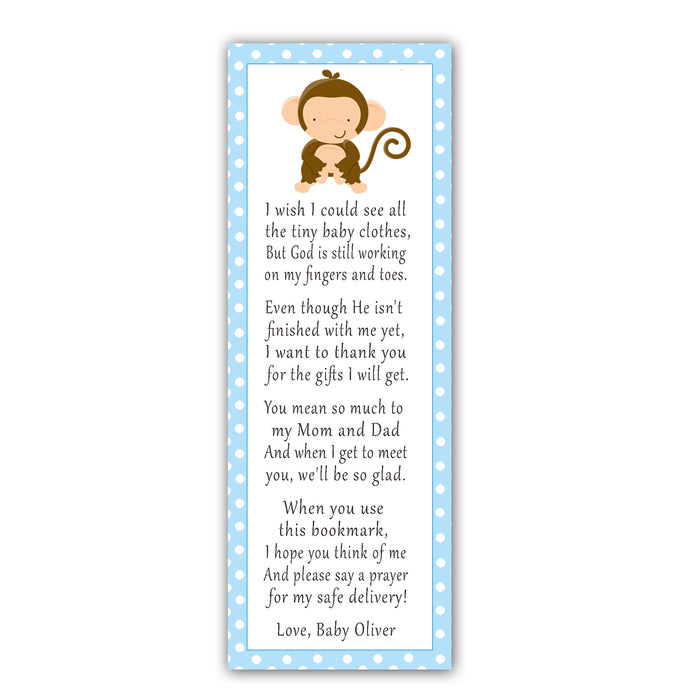 25 bookmarks blue monkey baby shower