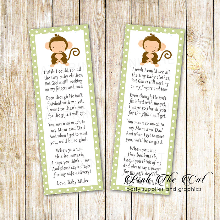 Bookmarks green monkey baby shower printable