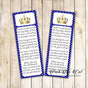 Prince bookmark royal blue gold printable baby shower favors