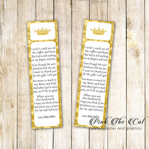 50 Printed Bookmarks Baby Shower Prince Gold Unisex