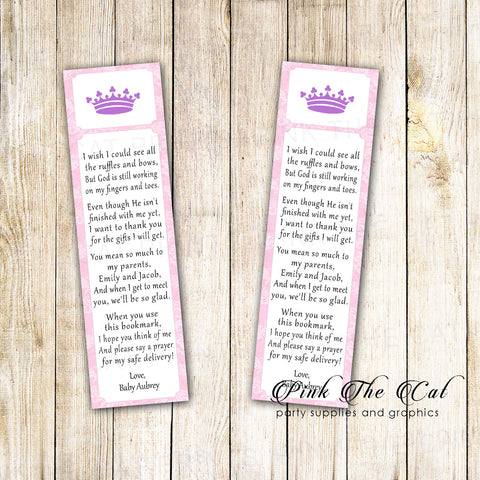 50 bookmarks princess baby shower favor pink purple