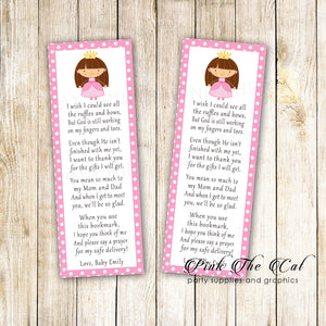 Bookmarks pink princess baby shower favors printable template