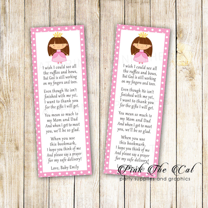 25 bookmarks pink princess baby shower