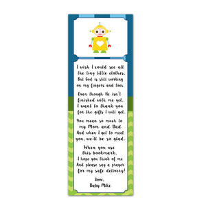 25 Bookmarks Robot Baby Boy Shower Favors